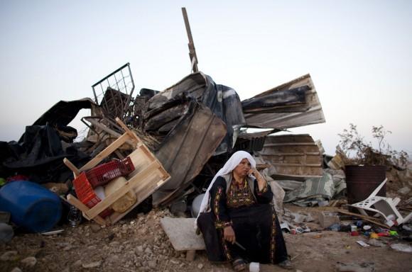 A Bedouin woman after an Israeli demolition