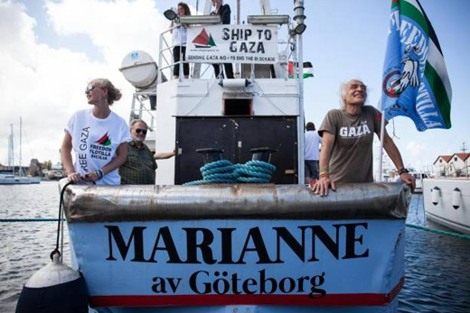 Activists aboard the Marianne before it shipped off, Gaza bound. (Photo: Freedom Flotilla)